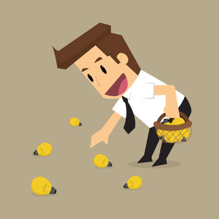 to collect: businessman collect bulbs, idea, brainstorm. vector Illustration