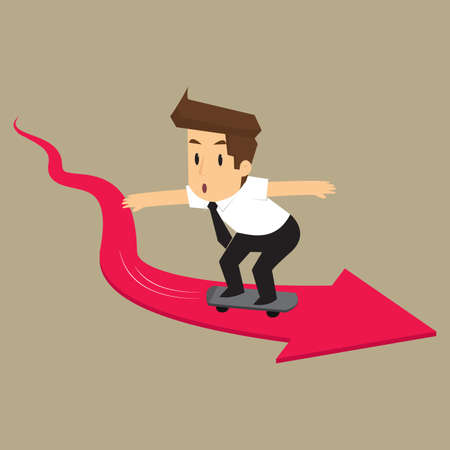 forced: businessman forced skateboard according to the arrow. vector Illustration