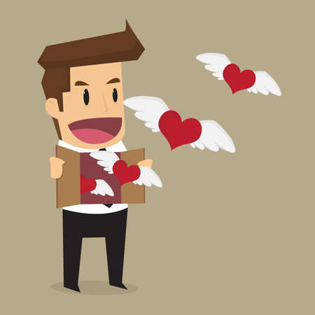 indulgent: businessman let the heart freedom, work that he love. vector