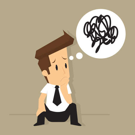 confusion: businessman confused with the idea to solve the problem. vector Illustration