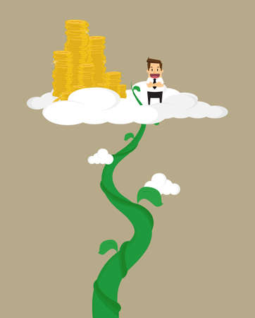 yearn: business man to climb the Beanstalk to ultimate success,pride. vector