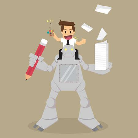 assistant: businessman control the robot assistant work. vector