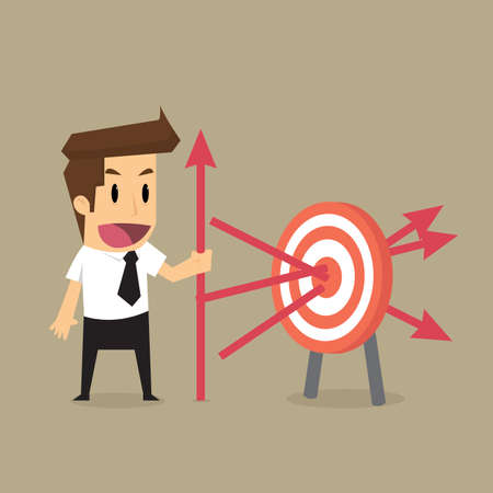 precisely: businessman throwing arrows at the target precisely, goal of the business. vector