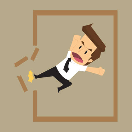wrathful: business man destroy frame, from the traditional framework. To find new opportunities. vector
