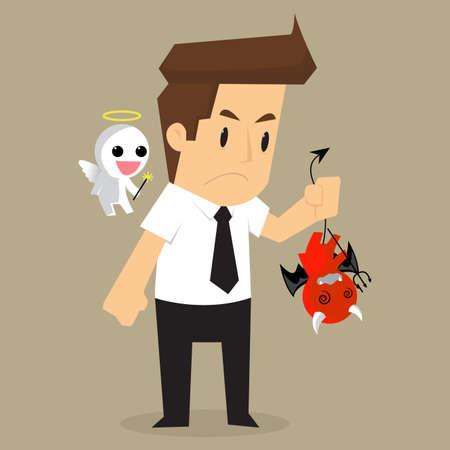 conscience: businessman shoulder devil and angel. vector