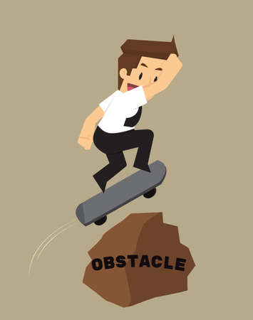 obstacles: businessman skateboard jump over obstacles. vector Illustration