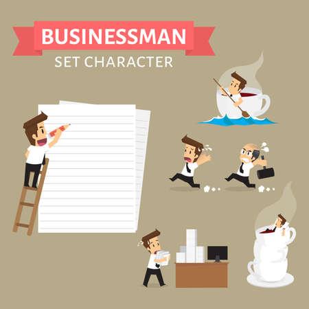 escape plan: Set,Businessman Character.vector