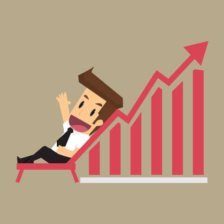 young business man: business man and a graph that rise, relaxing with the income increase. vector