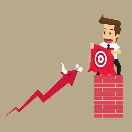 entice: businessman entice arrow bull hit targets. vector Illustration