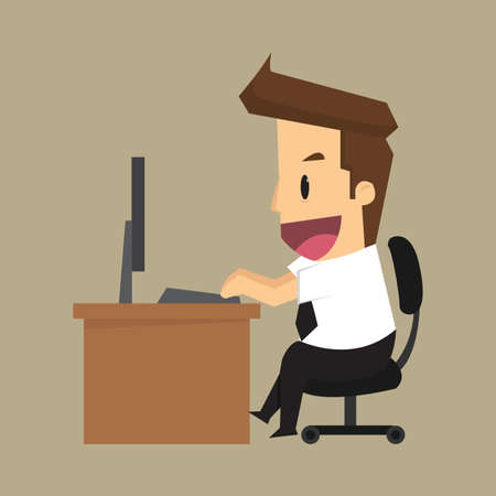 business man is happy with the work, desk. vector Vettoriali