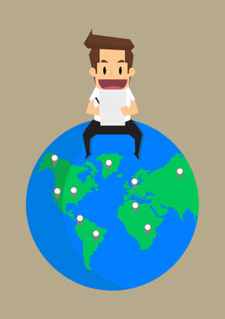 noted: business man noted business is all over the world. vector Illustration