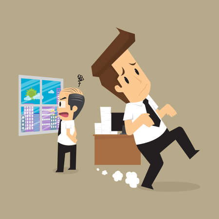 stealthy: Businessman and the employers complain a lot. vector Illustration