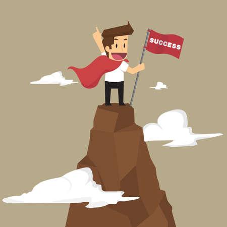 Úspěch: obchodník drží vlajku, která uspět v hoře. vektor