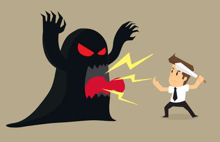 obstacles: businessman to fight the devil problems and obstacles. vector