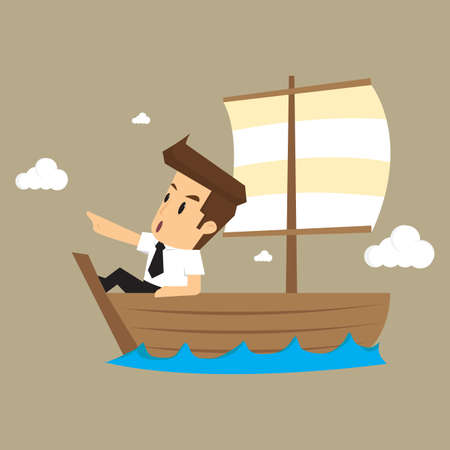 woo: businessman exploring the sea adventure to find the treasure. vector Illustration