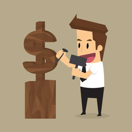 finely: businessman carvings of earning money in the future. vector