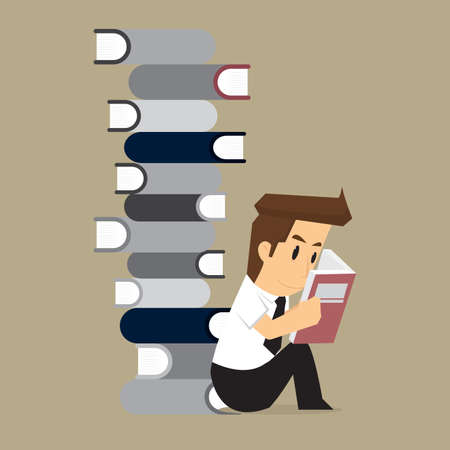 diligence: businessman studies in the Book. vector Illustration