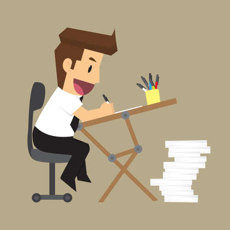 desk: business man is happy with the work desk. vector Illustration