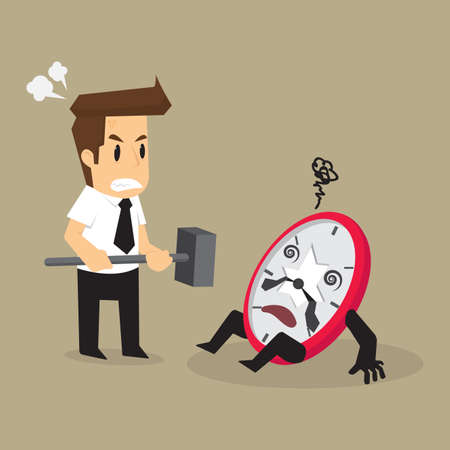 bad leadership: business man smashed watch not on time. vector