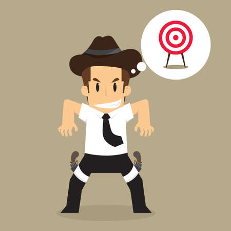 sharpshooter: Cowboy Businessman sees the goal. vector Illustration