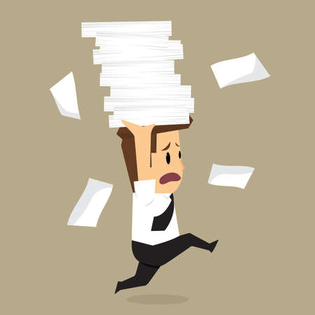 Businessman run holding a lot of documents in his hands. vector