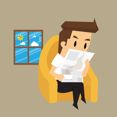 breezy: businessman reading a newspaper. vector Illustration