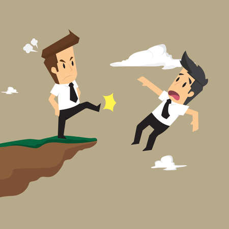 bothersome: businessman rival male kick off a cliff. vector