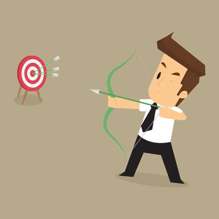goals: businessman successful in the goals that aim. vector Illustration