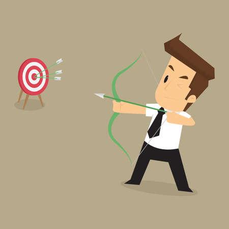 metas: exitoso hombre de negocios en los objetivos que pretenden. vector