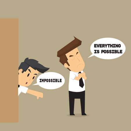 personality: businessman believe in yourself that can. vector