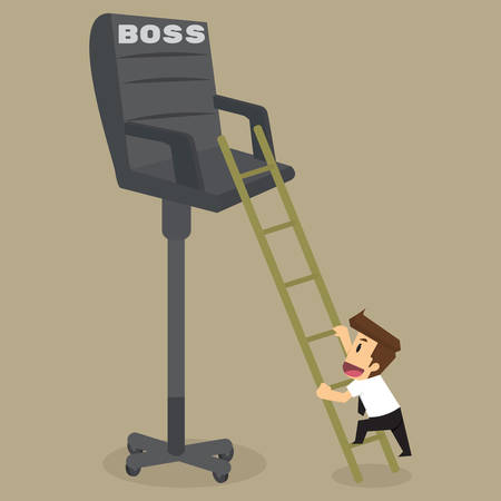 promoted: Businessman climb on the chair promoted level boss. vector