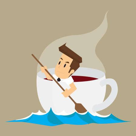 中毒性の: business man in cup of coffee, addictive coffee. vector