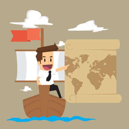 businessman exploring the sea adventure to find the treasure. vector Ilustração