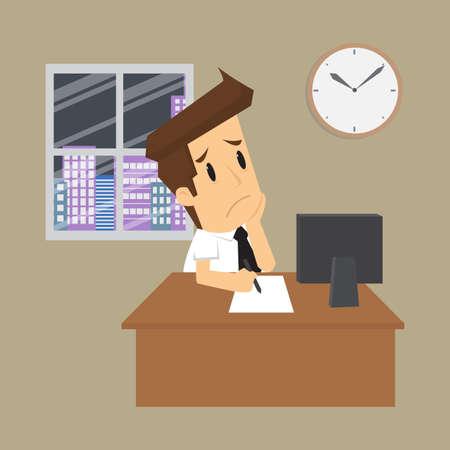 overtime: businessman working overtime. vector Illustration