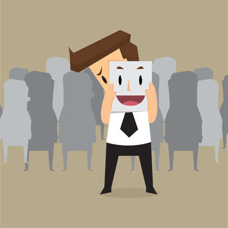 wear mask: Fake businessman wearing mask smile rage cavaliers. Business concept. vector