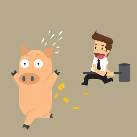 businessman smashed piggy bank. vector
