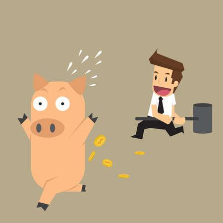 smashed: businessman smashed piggy bank. vector