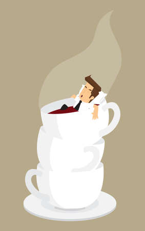 repose: Businessman relaxing in coffee cup. vector