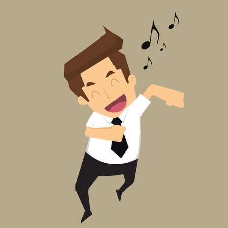 cantando: El hombre de negocios de buen humor corriendo canto. vector