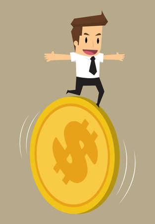 runing: hombre de negocios que se ejecuta en la moneda, el risk.vector financiera
