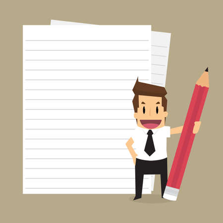 Businessman with a paper text, a record. vector