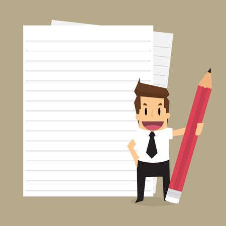 Uomo d'affari con un testo di carta, un record. vettore Archivio Fotografico - 42688123