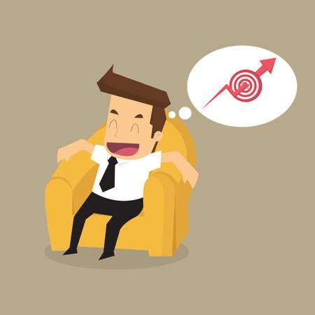 uomo felice: uomo d'affari sui sedili divano manca obiettivo di fatturato per il futuro. vettore