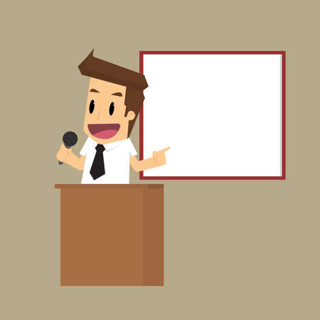 presentation people: Businessman giving a presentation. vector