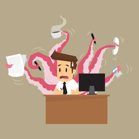 businessman hand on octopus. vector
