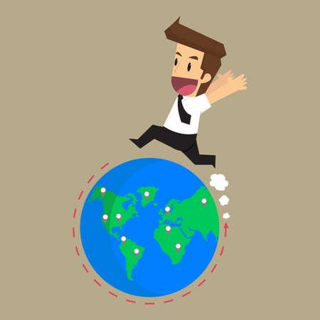 businessman survey the market the world to expansion. vector