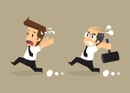 boss hammers chase businessman working bad. vector