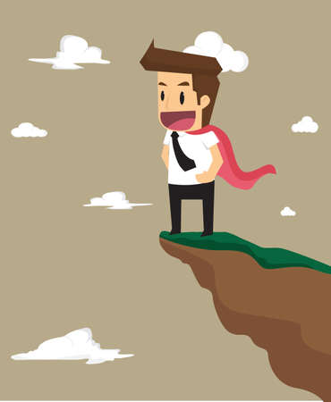man illustration: business man with high-level talents, standing on the top of a hill. vector