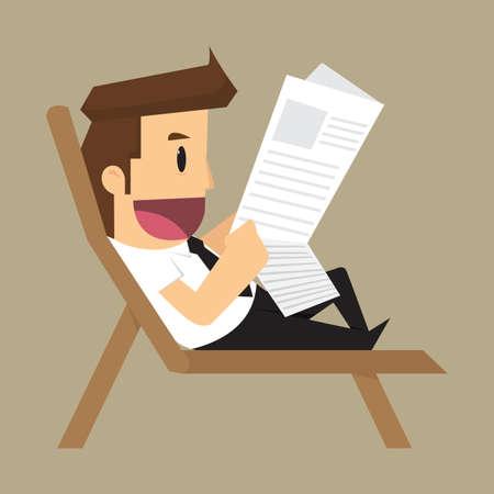 reading newspaper: businessman reading a newspaper. vector. vector