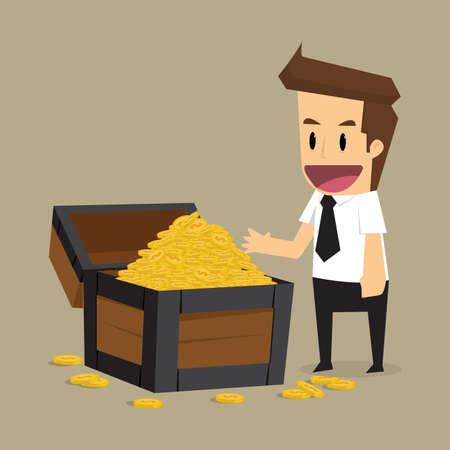 treasure chest: businessman found the treasure, income is hidden. vector